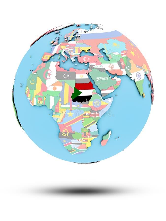 Sudan na politycznej kuli ziemskiej z flaga ilustracji