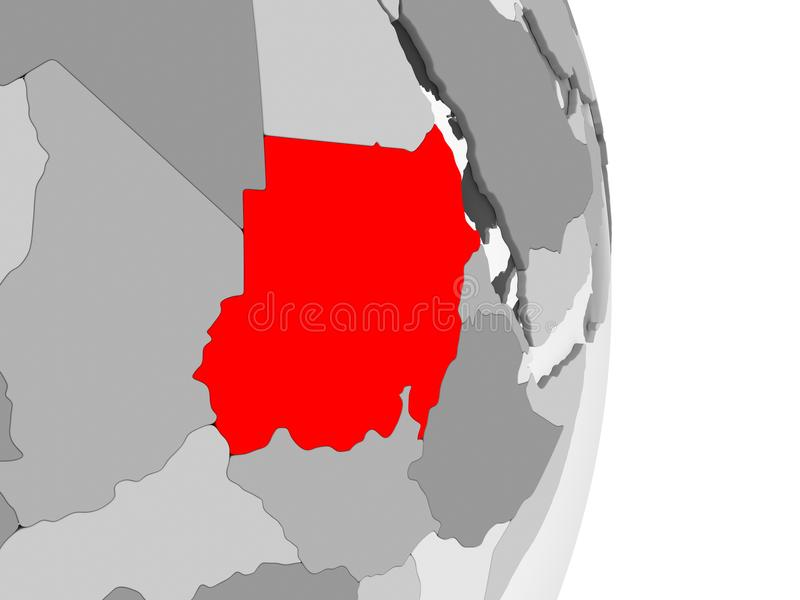 Sudan na popielatej politycznej kuli ziemskiej ilustracji