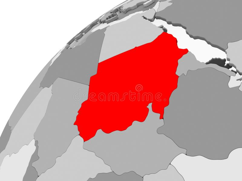 Sudan na popielatej politycznej kuli ziemskiej royalty ilustracja