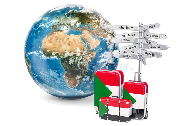 Sudan travel concept. Suitcases with Sudanese flag, signpost and. Earth globe vector illustration