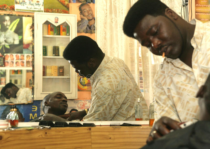 Download A Sudanese Refugee Working In A Barber Shop Editorial Image - Image of customer, african: 26234090