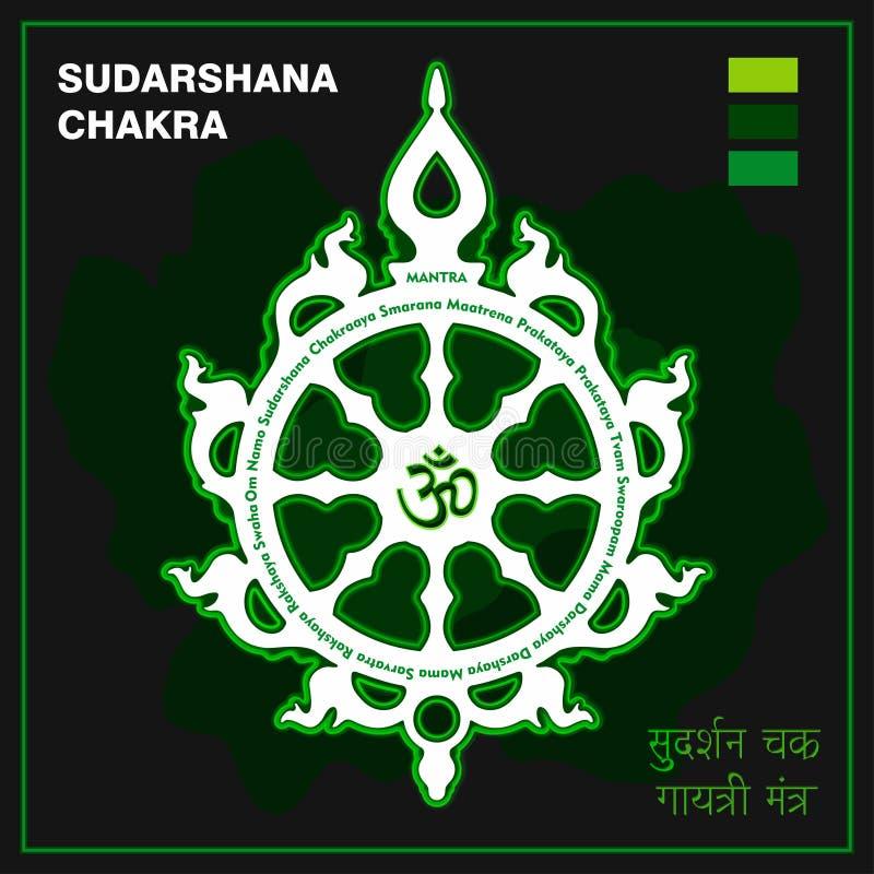 Sudarshanachakra, vurige schijf, attributen, wapen van Lord Krishna Een godsdienstig symbool in Hindoeïsme Vector illustratie vector illustratie