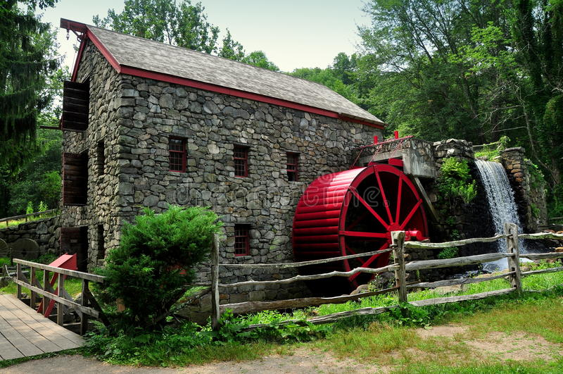 Marble Water Wheels : Sudbury ma old stone grist mill stock photo image