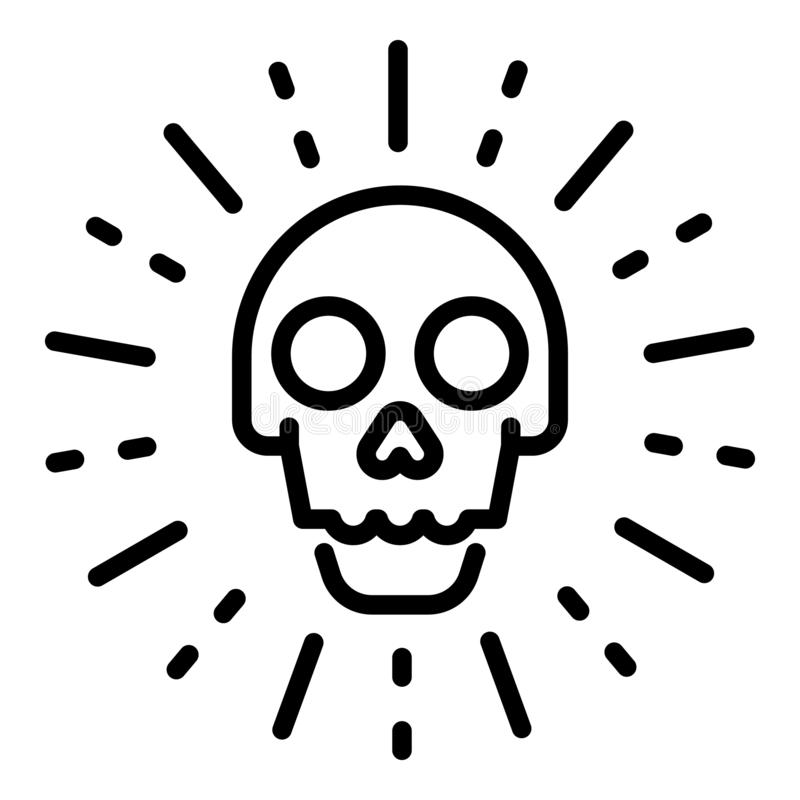 Sudden cyber attack icon, outline style stock illustration
