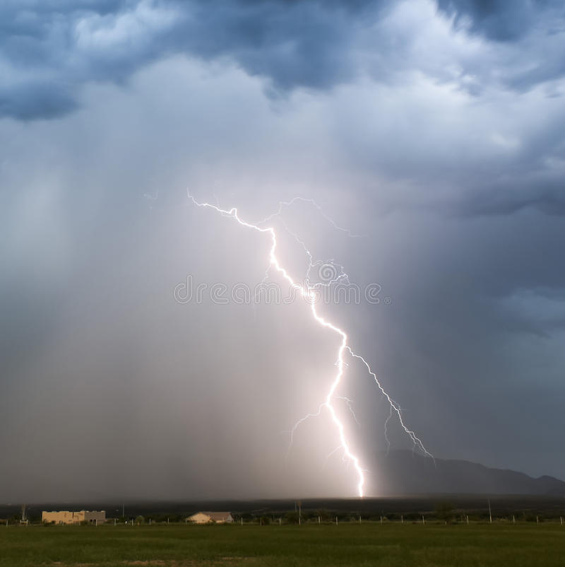 A Sudden Lightning Bolt in the Foothills royalty free stock images