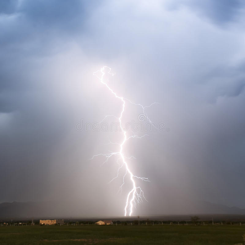 A Sudden Lightning Bolt in the Foothills royalty free stock photography