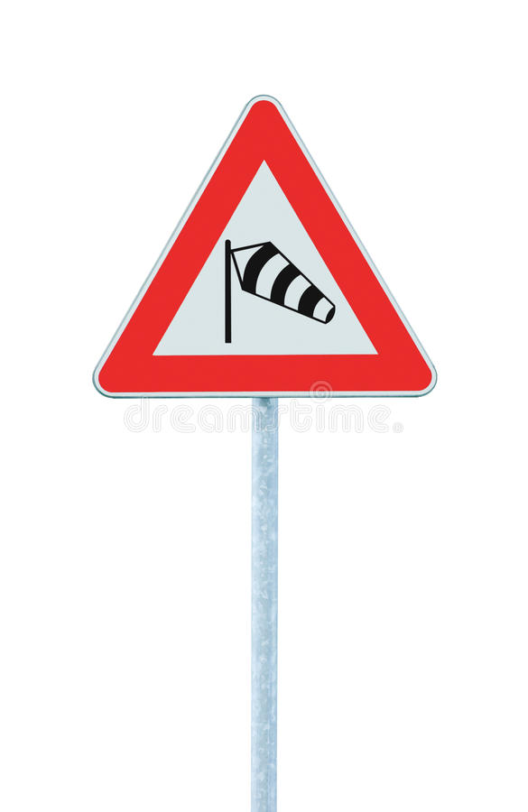 Sudden side cross winds likely ahead road sign, isolated traffic warning flying sock crosswinds sidewind signage, danger windsock stock images