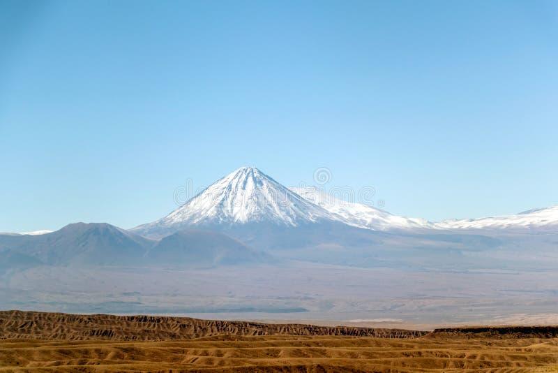 Suddig bakgrund av landskapet för den Atacama öknen med snö-korkade Andean vulkan, saltar lägenheten och någon vegetation på hori royaltyfri foto
