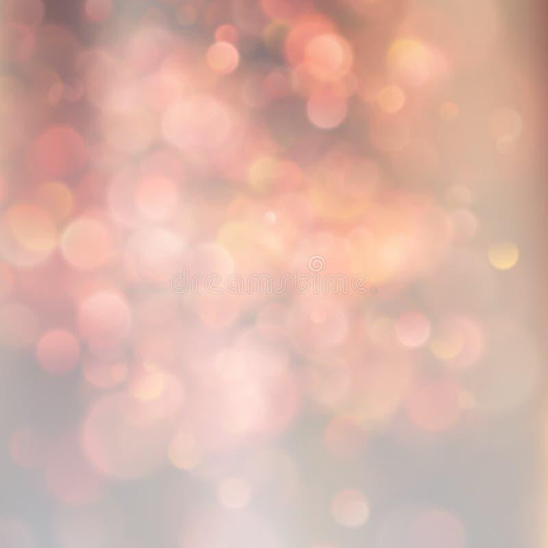Suddig bokehbakgrundsapelsin och beigea magiska cirklar som är abstrakta ut ur fokusbakgrund 10 eps royaltyfri illustrationer