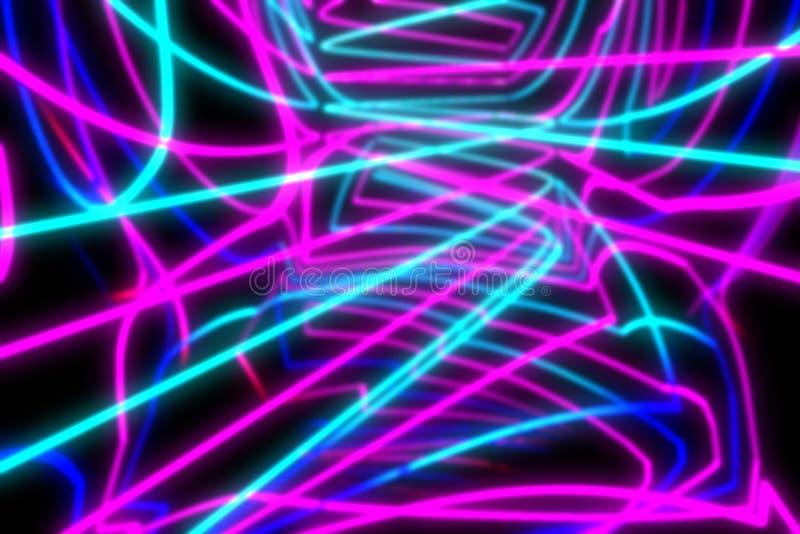 Suddig 3d tolkning, glödande linjer psychedelic vektor för abstrakt bakgrundsillustration royaltyfria foton