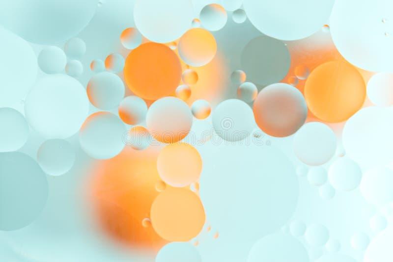 Suddig färgrik bakgrund för abstrakt begrepp med oljadroppar på vattenyttersida abstrakt bakgrund royaltyfri bild