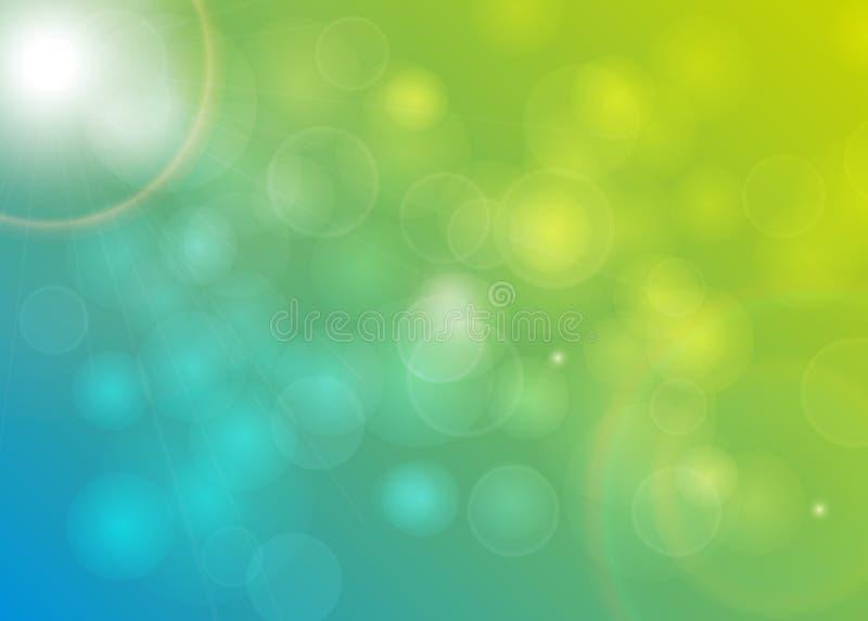 Suddig guling Bokeh för blå gräsplan för bakgrund stock illustrationer