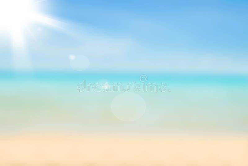 Suddig naturbakgrund Bakgrund för sandig strand med turkos royaltyfria bilder