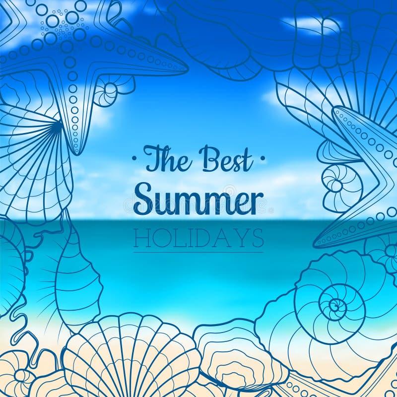 Suddig sommarbakgrund med snäckskal och sjöstjärnor stock illustrationer