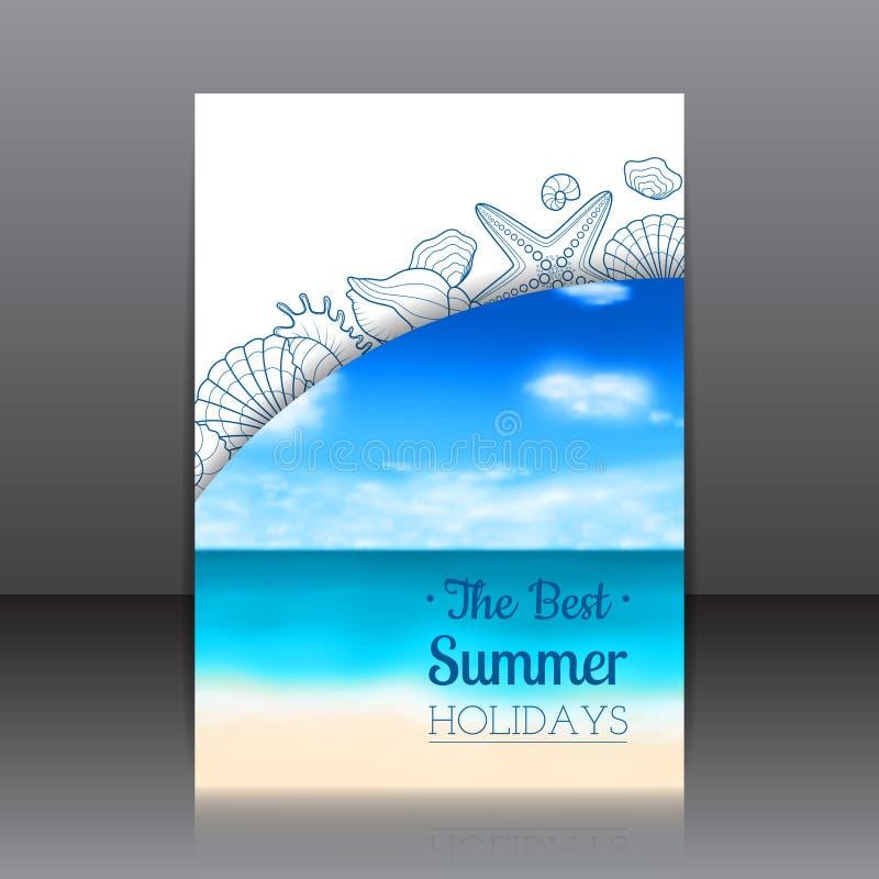 Suddig sommarreklamblad med snäckskal och sjöstjärnor stock illustrationer