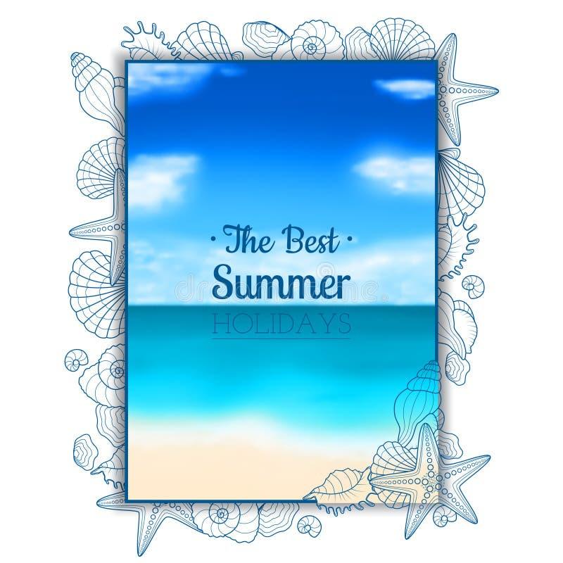Suddig sommarreklamblad med snäckskal och sjöstjärnor royaltyfri illustrationer
