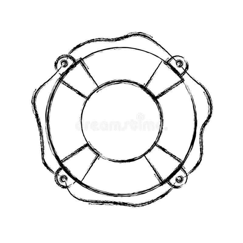 Suddig tjock kontur av flytandebeslaget med repet vektor illustrationer