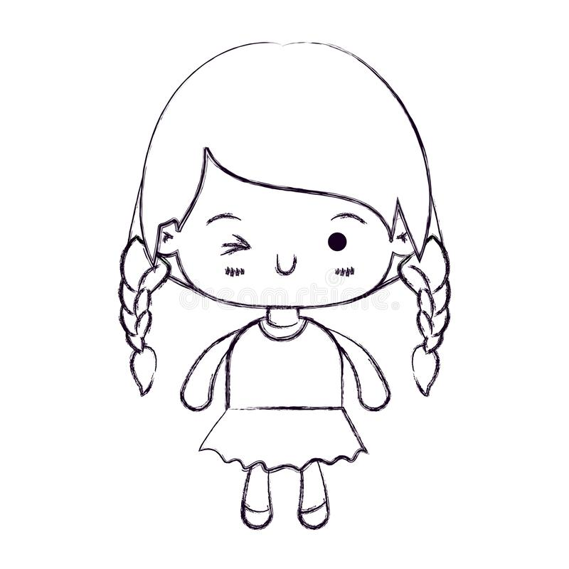 Suddig tunn kontur av kawaiililla flickan med det flätade hår- och ansiktsuttryckblinkningögat stock illustrationer