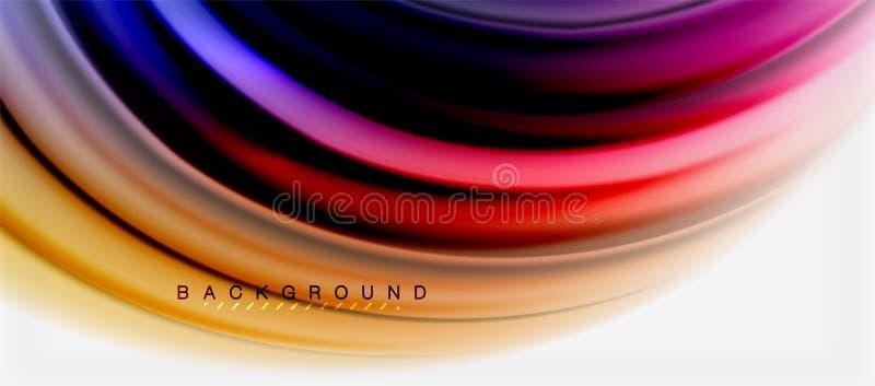 Suddig vätska färgar bakgrund, abstrakt begreppvåglinjer, vektorillustration stock illustrationer
