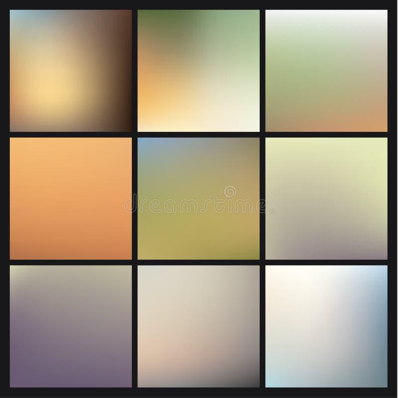 Suddiga bakgrunder för vektor colorfully. Packe av ny oskarp baksida vektor illustrationer
