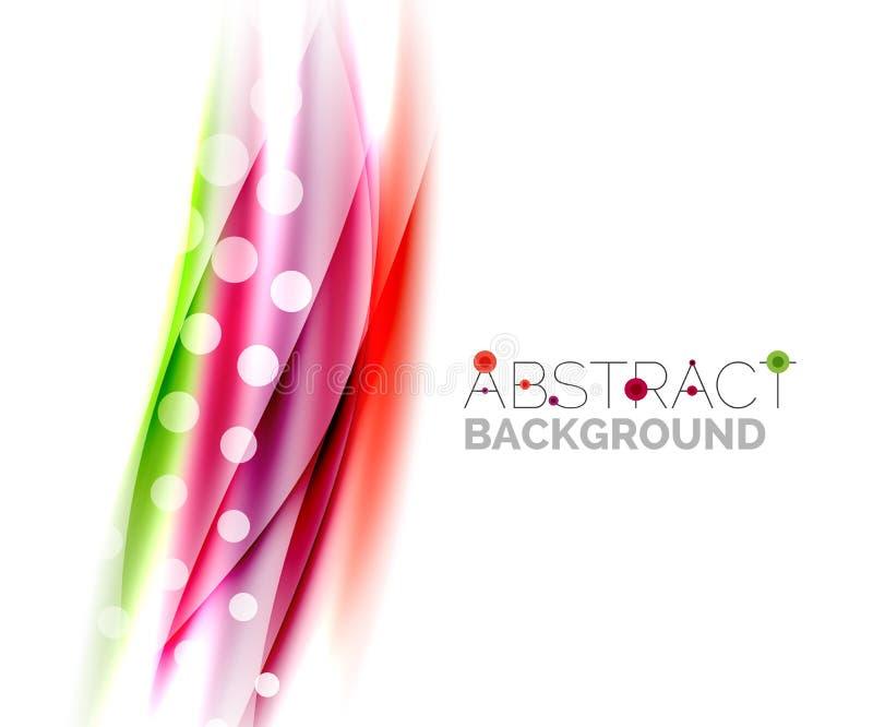 Suddiga färgvågor, linjer Abstrakt bakgrundsmall för vektor royaltyfri illustrationer