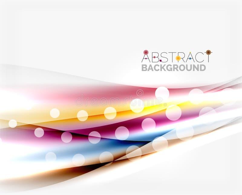 Suddiga färgvågor, linjer Abstrakt bakgrundsmall för vektor stock illustrationer