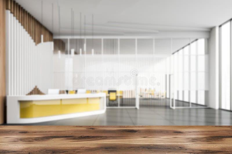 Suddigt kontorsmottagandeomr?de med den gula tabellen stock illustrationer