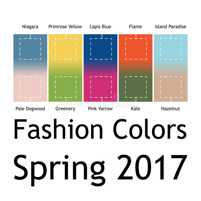 Suddigt mode som är infographic med moderiktiga färger av våren 2017 Niagara primulaguling, lasursten slösar, flammar, ön vektor illustrationer