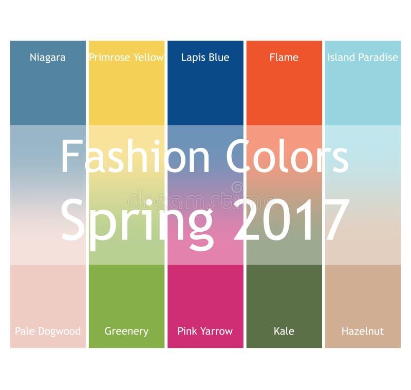 Suddigt mode som är infographic med moderiktiga färger av våren 2017 Niagara primulaguling, lasursten slösar, flammar, ön royaltyfri illustrationer