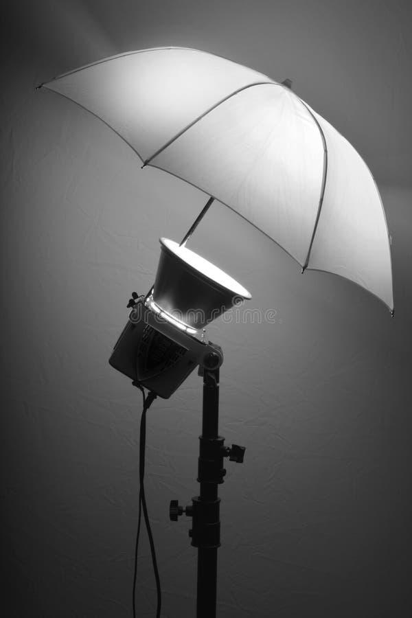 Sudio Flash Stobe Light and Umbrella on Stand royalty free stock photo
