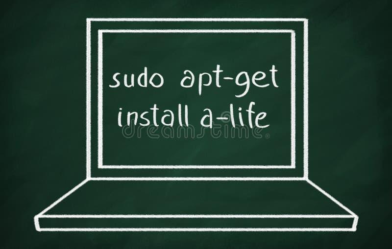 Sudo apt-get install a-life. On the blackboard write sudo apt-get install a-life stock photography