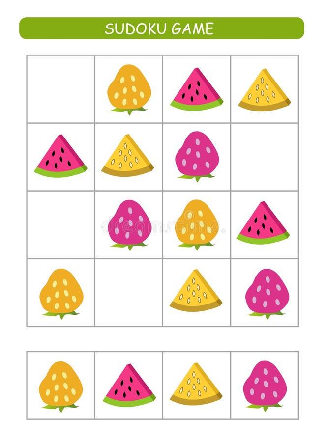 Sudoku για τα παιδιά Φύλλο δραστηριότητας παιδιών Λογική κατάρτισης, εκπαιδευτικό παιχνίδι Παιχνίδι Sudoku με τα φρούτα και τα μο ελεύθερη απεικόνιση δικαιώματος