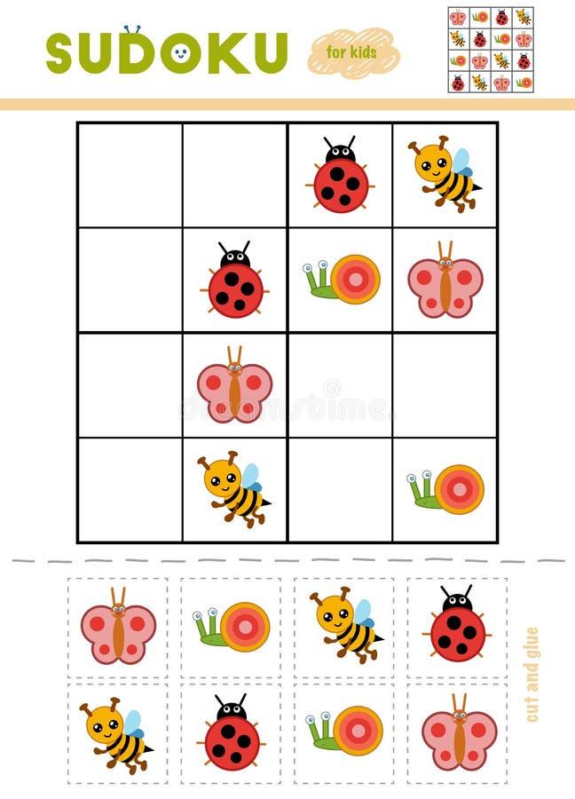 Sudoku для детей, игра образования Насекомые шаржа иллюстрация вектора