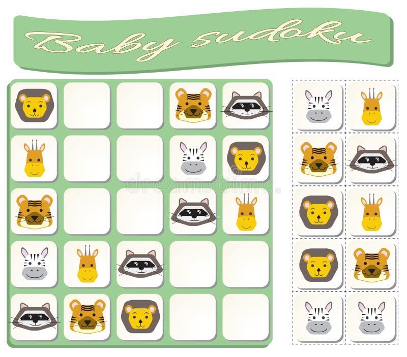 Sudoku для детей с красочными изображениями животных иллюстрация вектора