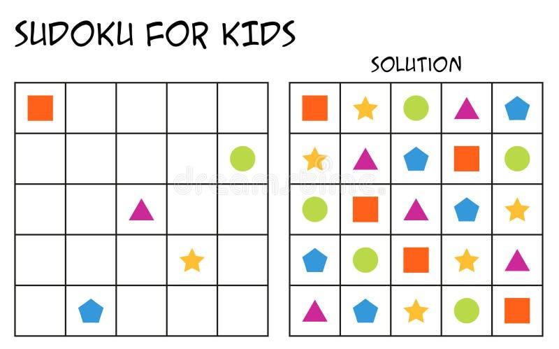 Sudoku для детей с решением, геометрических форм, 2-ой вариант иллюстрация штока