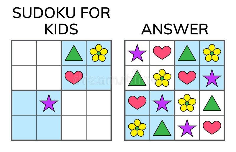 Sudoku Bambini e mosaico matematico adulto Quadrato magico logica illustrazione di stock