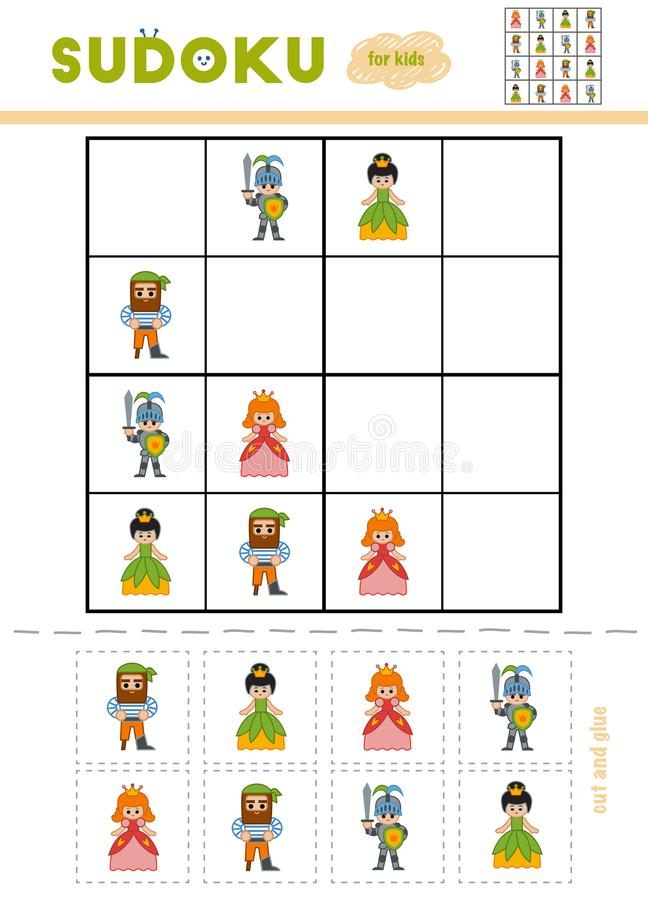 Sudoku for children, education game. Cartoon characters. Princess, Knight, Pirate. Use scissors and glue to fill the missing elements royalty free illustration