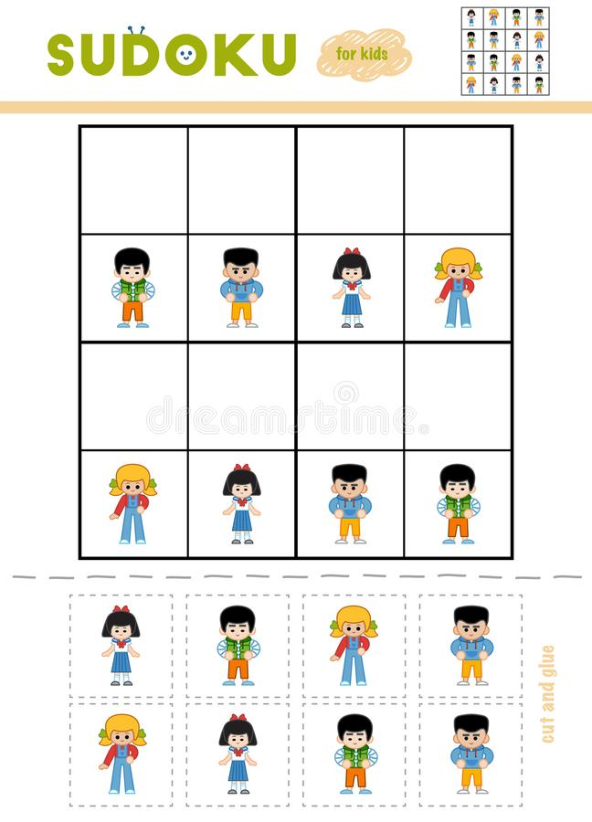Sudoku for children, education game. Cartoon characters. Girls and Boys. Use scissors and glue to fill the missing elements vector illustration