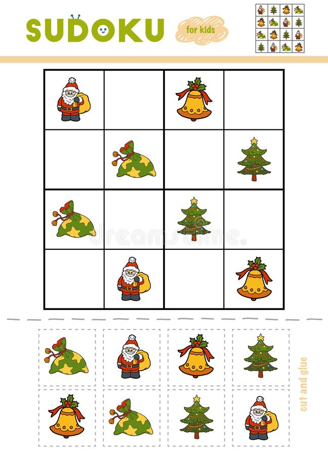 Sudoku for children, education game. Set of Christmas items - Gi stock illustration