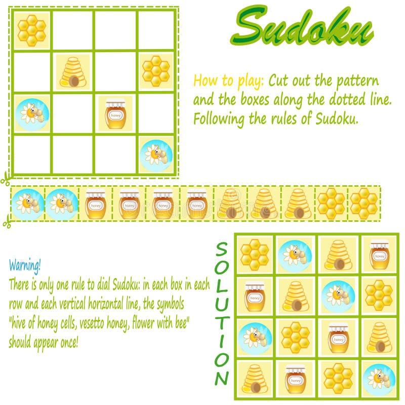 Sudoku com retratos para crianças. ilustração stock