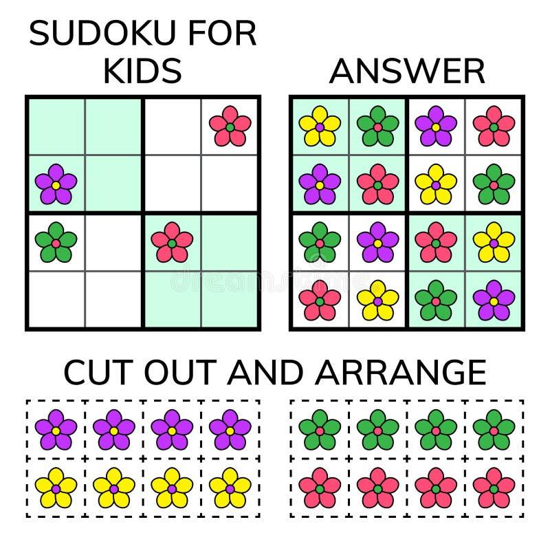 Sudoku Crianças e mosaico matemático adulto Quadrado mágico Jogo do enigma da lógica Jogo das palavras de Digitas ilustração royalty free
