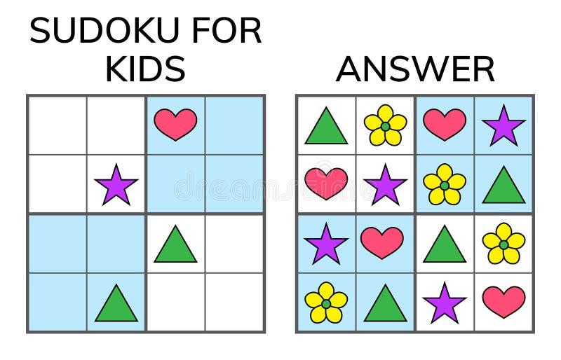 Sudoku Crianças e mosaico matemático adulto Quadrado mágico lógica ilustração stock