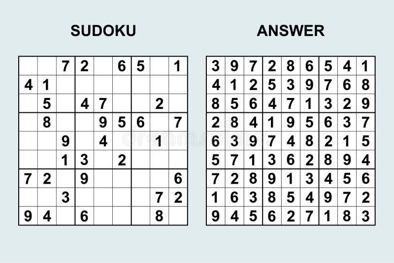 Sudoku De Vecteur Avec La Réponse Illustration de Vecteur ...