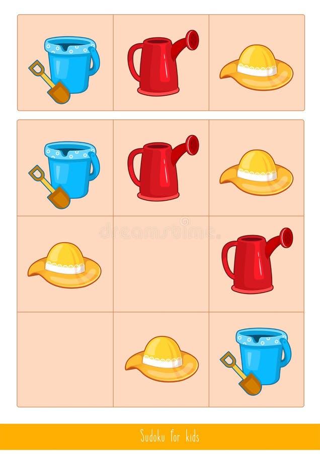 Sudoku dla dzieciaków, wektor ilustracja wektor