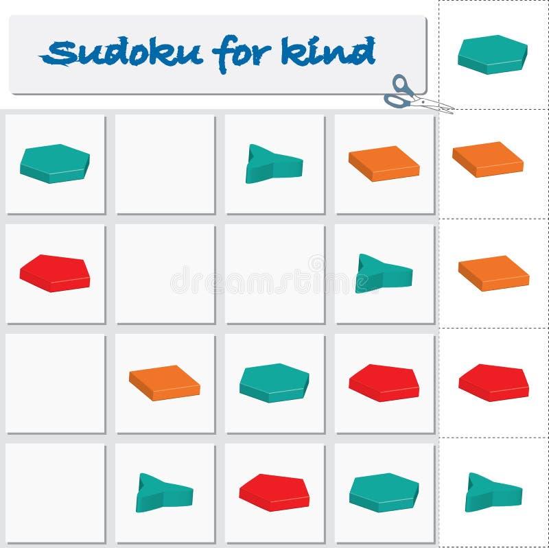 Sudoku dla dzieciaków z kolorowymi geometrycznymi postaciami gra dla preschool dzieciaków royalty ilustracja