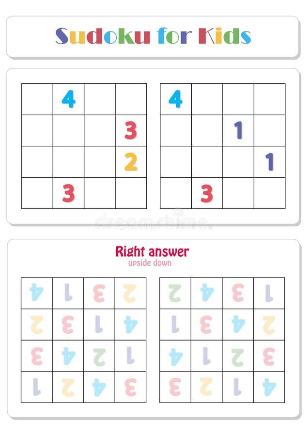 Sudoku dla dzieciaków z kolorowymi liczebnikami royalty ilustracja