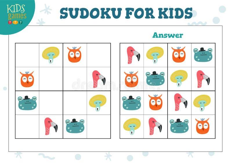 Sudoku dla dzieciaków z odpowiedź wektoru ilustracją ilustracji