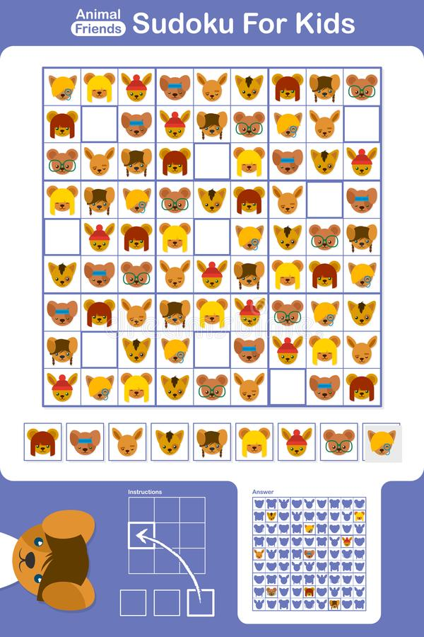 Download Sudoku Puzzle Grid For Kids With Cartoon Animals Stock Vector