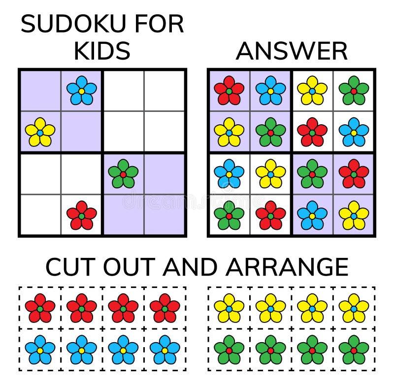 Sudoku Enfants et mosaïque mathématique adulte Grand dos magique Jeu de puzzle de logique Rébus de Digital illustration libre de droits