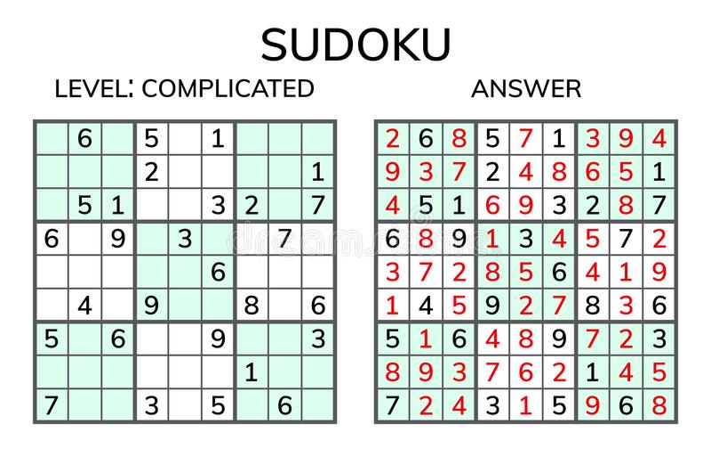 Sudoku Enfants et mosaïque mathématique adulte Grand dos magique logique illustration de vecteur